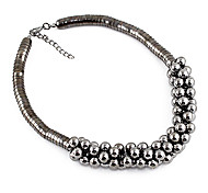 Black Bead Wide Necklace