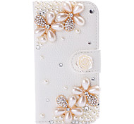 Luxury Peral Flower Rhinestone Pattern Left and Right Open Leather Case with Holder for iPhone 5/5S