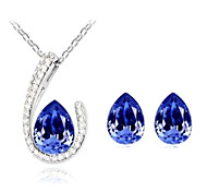 women's Crystal Water-drop Pendant Necklace Jewelry Set