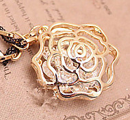 Korea hollow phrase roses black rope hanging crystal winter long sweater chain (random color)