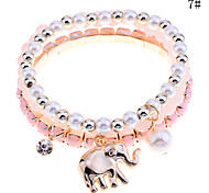 Lureme®Opal Beads Elephant Pendant Bracelet Set(Assorted Color)