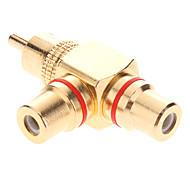 RCA Male naar 2xFemale AV Adapter T-Type Vergulde