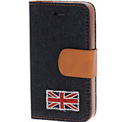 Black  Union Jack Textile Case with  Card Slot for iPhone 4/4S