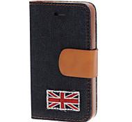 union jack caso textil negro con ranura para tarjeta para el iphone 4/4s