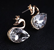 Women's Korean Version Twinkle Black Diamond Crystal Swan Earrings(random color)Imitation Diamond Birthstone