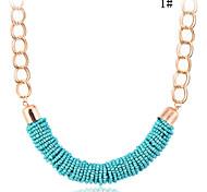 Lureme®Bohemian Style Beads Threaded U Shape Choke Necklace