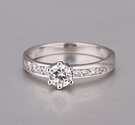 Crystal Silver Plated Fashion Ring