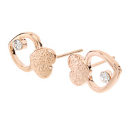 Rose Gold-Double Heart Ohrstecker