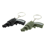 ABS Gun Shaped Keychain with LED & Voice (Random Color)