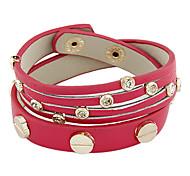 OL Style Double Layer PU Leather Bracelet