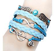 BaoGuang®Music Notes and Infinity Charm Handmade Leather Bracelet