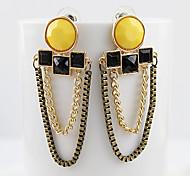 Alloy Multilayer Tassel Yellow Drop Earrings