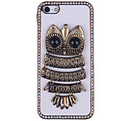 3D Owl Pattern Diamond Encrusted Leather & Alloy Hard Case for iPhone 5/5S