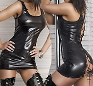 Night Club Dancer Black PU Leather Dress Ultra Sexy Uniform