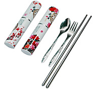 Chinese Style Travel Tableware Set - Peony Pattern