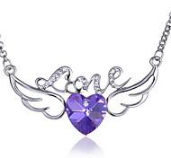 Alas del ángel del amor del corazón collar de cristal colgante