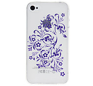 Purple Curvy Flowers Pattern Transparent TPU Soft Case for iPhone 4/4S