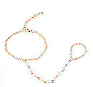 Gold Plated Pearls Chain Bracelet With Ring Loop