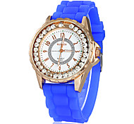 Women's Moveable Diamante Round Dial Silicone Band Quartz Analog Wrist Watch (Assorted Colors)