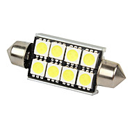 Merdia 2pcs Canbus Error Free White 8 5050 SMD LED Festoon Dome Lights-LEDD002B8A
