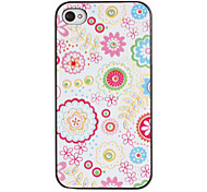 Pink Tones Flowers Pattern PC Hard Case with Black Frame for iPhone 4/4S