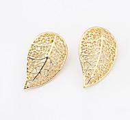 Pierced Hollow Leaf Stud Earrings