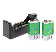 Cargador + 2pcs BTY 9V 300mAh Ni-MH Rechargeble batería