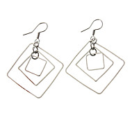 Three Square Silver-Plated Earrings