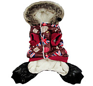 British Style Warm Coat with Hoodie for Pets Dogs (Assorted Colors, Sizes)