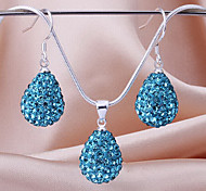 drop beads earring necklace pendant set Micro Pave CZ Disco Ball Bead