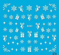 5PCS Colorful White Nail Art Stickers Snow Series(NO.2,Assorted Color)