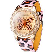 Frauen Schmetterling Muster runden Zifferblatt Leopard Grain Band Quartz Analog-Armbanduhr (farbig sortiert)