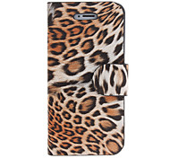 Leopard Print PU Leather Full Body Case with Card Slot and Stand for iPhone 5/5S