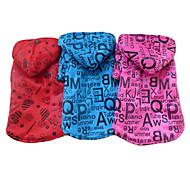 Nettes englisches Alphabet Muster Warmer Mantel mit Kapuze für Haustiere Hunde (verschiedene Farben, Größen)