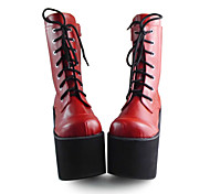 Handmade Red PU Leather 7.5cm Platform Punk Lolita Boots