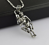 Personalized Human Skleton'S Hugged Stainless Steel Pendant