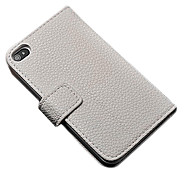 Luxury Wallet Pu Leather Full Body Case for Iphone 4/4S with Stand and 2 Card Holders