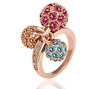 (1pc) de l'anneau multicolore doux de déclaration plaqué or