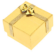 Square Bowknot Paper Rings Boxes - Golden