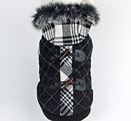 Модные Хлопок Проверки теплое пальто с капюшоном Собаки Животные (разные размеры)