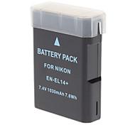 "New-View EN-EL14 Replacement 7.4V ""1030mAh"" Rechargeable Li-ion Battery for Nikon P7000 - Black"