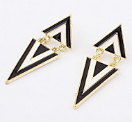 Black-White Alloyed Triangular Stud Earring