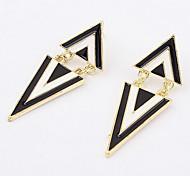 Black-White Alloyed Triangular Stud Earring