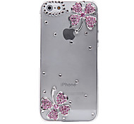For iPhone 5 Case Transparent / Embossed Case Back Cover Case Flower Hard PC iPhone SE/5s/5
