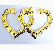 Fashion Heart Shaped Hoop Bamboo Gold-Plated Hoop Earrings