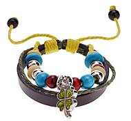 Unisex Bead Clover Fabric Leather Bracelet