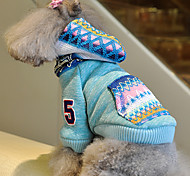 Dog Coats / Hoodies - S / M / L / XL - Winter - Blue / Pink Cotton