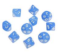 10pcs Decahedron ABS Blue Figures Dices