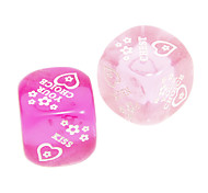 2.5cm 2 pcs Pink And Purple Transparent Funny Dices