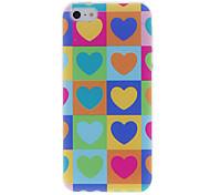 Grid y patrón de colores Funda protectora Heard-Shapes para iPhone 5/5S